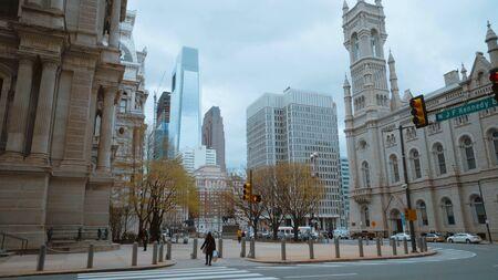 Philadelphia street corner with Masonic Temple and City Hall - travel photography