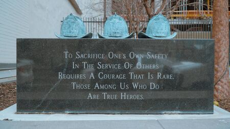 The memorial to the three Philadelphia firefighters killed in the Meridian high-rise fire - travel photography