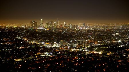 Amazing aerial view over the city of Los Angeles at night - travel photography