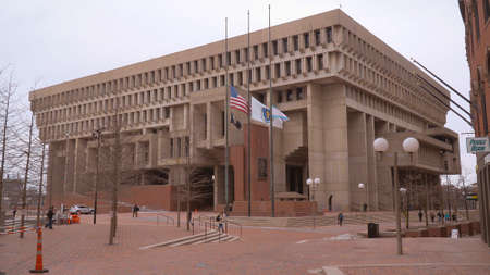 Boston City Hall at Congress Street - BOSTON. UNITED STATES - APRIL 5, 2017