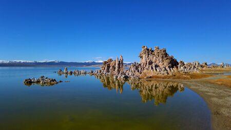 Tufa towers columns of limestone at Mono Lake in California - travel photography