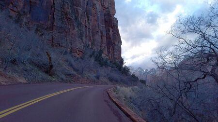 Driving through Zion Canyon National Park in Utah
