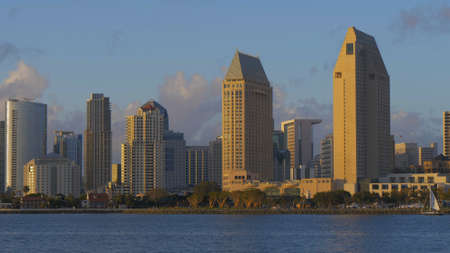 San Diego downtown skyscrapers at sunset - CALIFORNIA, USA - MARCH 18, 2019