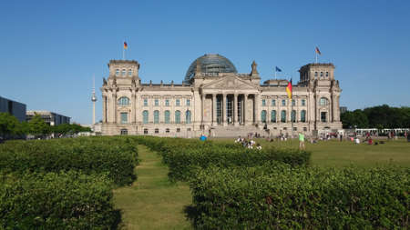 German parliament building called Reichstag - parliamentary buildings in Berlin - CITY OF BERLIN, GERMANY - MAY 21, 2018 Editoriali