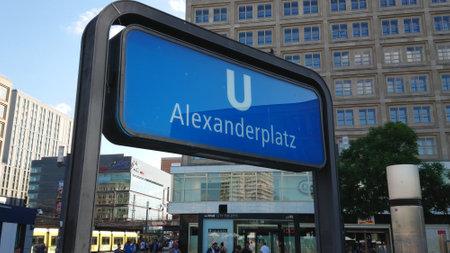 Subway station Alexanderplatz on Alexander square in Berlin - BERLIN, GERMANY - MAY 21, 2018 Editoriali