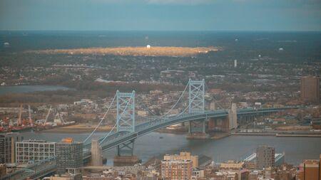 Ben Franklin Bridge over Delaware River in Philadelphia