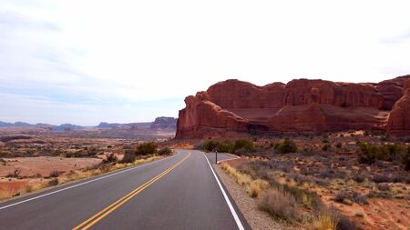 Driving through Arches National Park - travel photography Stock fotó