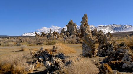 Tufa towers columns of limestone at Mono Lake Stock fotó
