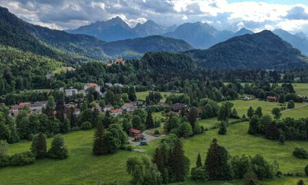 The typical landscape of Bavaria - the German Alps at Allgau