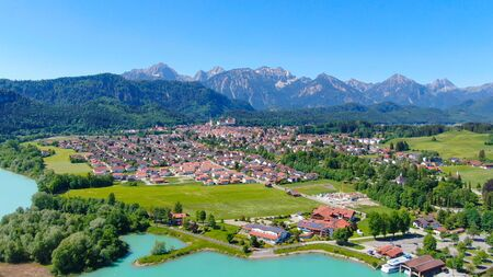 Aerial view over the city of Fuessen in Bavaria, Germany - home of the famous Bavarian King Ludwig Castles