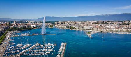 Aeial view over Lake Geneva in Switzerland