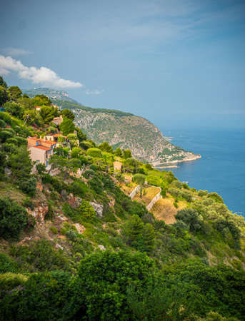 The steep cliffs along the Cote D Azur in France