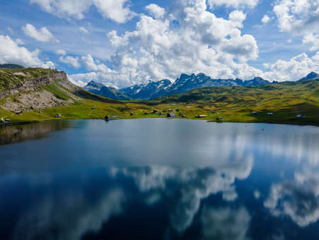Beautiful Melchsee mountain lake in the Swiss Alps Zdjęcie Seryjne