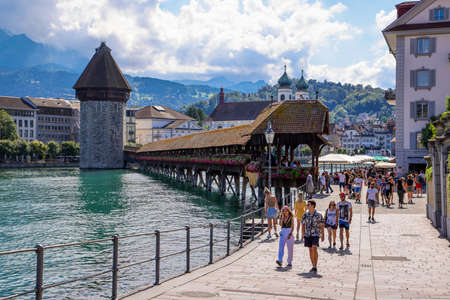 City Center of Lucerne in Switzerland on a sunny day - LUCERNE, SWITZERLAND - AUGUST 16, 2020