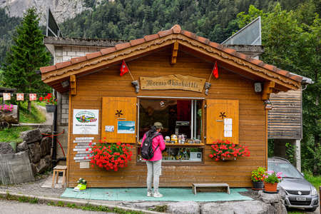 Typical Swiss hut selling local cheese in Switzerland - MELCHSEE-FRUTT, SWITZERLAND - AUGUST 16, 2020 Éditoriale