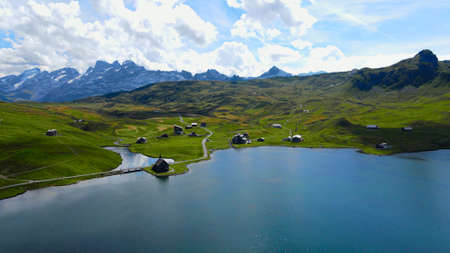 Wonderful Mountain Lake in the Swiss Alps - aerial view