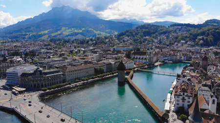 Beautiful city of Lucerne in Switzerland from above Banque d'images - 154165555