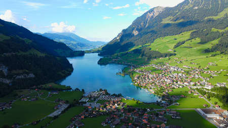 Lake Lungern in Switzerland from above