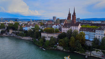 Flight over the city of Basel and River Rhine in Switzerland Banque d'images