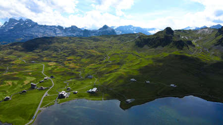 Amazing nature of the Swiss Alps - the Melchsee Frutt district in Switzerland from above Stock Photo
