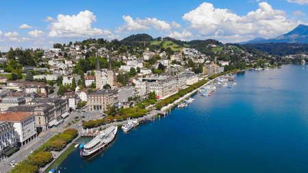 The lakefront of Lake Lucerne in Switzerland Stock Photo