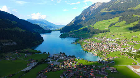 Wonderful Switzerland from above - Lake Lungern near Lucerne