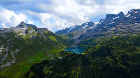 Landscape like a fairy tale - the Swiss Alps with its amazing nature - aerial view