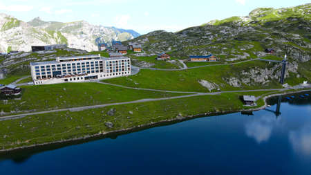 Popular vacation spot in the Swiss Alps - the Melchsee Frutt district in Switzerland - aerial view Banque d'images