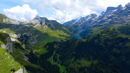 The Swiss Alps at Melchsee Frutt Stock Photo