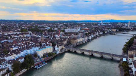 River Rhine in the city of Basel Switzerland - aerial view in the evening Banque d'images