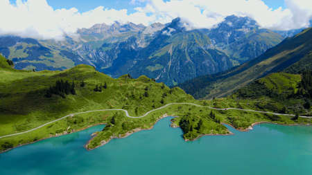The beautiful mountain lake in the Swiss Alps - aerial view on Mount Titlis