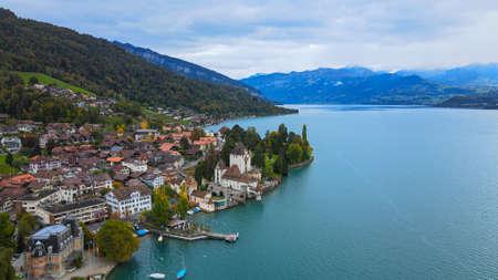 Famous Castle Oberhofen at Lake Thun in Switzerland