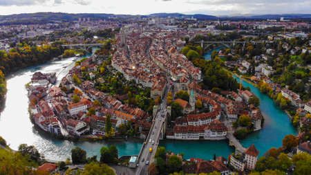 Flight over the city of Bern in Switzerland - the capital city from above