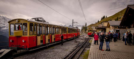 Famous train station Schynige Platte on the top of a mountain - COUNTY OF BERN. SWITZERLAND - OCTOBER 9, 2020
