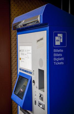 Ticket machine at a railway station in Switzerland - COUNTY OF BERN. SWITZERLAND - OCTOBER 9, 2020 Éditoriale