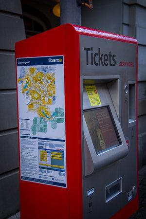Ticket sales machine for public transport - COUNTY OF BERN. SWITZERLAND - OCTOBER 9, 2020