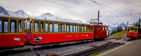 Famous cog railway on the mountain Schynige Platte in Switzerland - COUNTY OF BERN. SWITZERLAND - OCTOBER 9, 2020