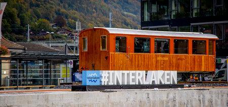 City of Interlaken railway station in Switzerland - COUNTY OF BERN. SWITZERLAND - OCTOBER 9, 2020