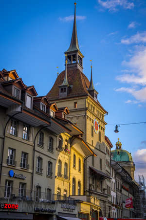 Typical street view in the historic district of Bern - COUNTY OF BERN. SWITZERLAND - OCTOBER 9, 2020