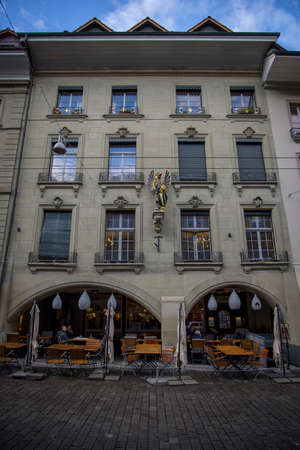 Beautiful mansions in the historic district of Bern - COUNTY OF BERN. SWITZERLAND - OCTOBER 9, 2020