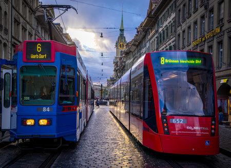 Public transport - trams in the city center of Bern - COUNTY OF BERN. SWITZERLAND - OCTOBER 9, 2020