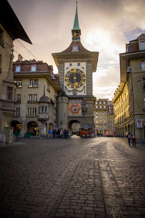 Famous Zytglogge Tower in the city of Bern - COUNTY OF BERN. SWITZERLAND - OCTOBER 9, 2020