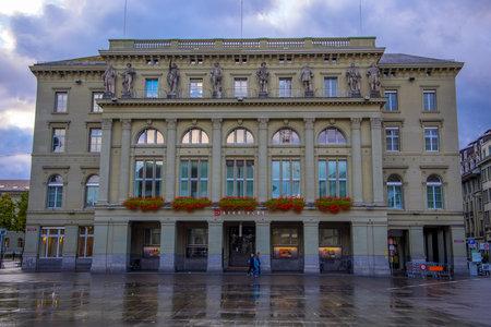 Historic building in the city center of Bern Switzerland - COUNTY OF BERN. SWITZERLAND - OCTOBER 9, 2020 Éditoriale