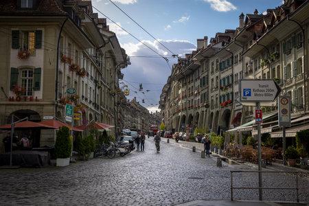 Famous street in Bern Gerechtigkeitsgasse - COUNTY OF BERN. SWITZERLAND - OCTOBER 9, 2020 Éditoriale