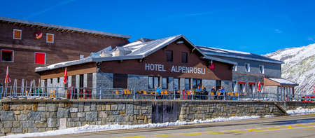 Famous hotel in the Swiss Alps - Hotel Alpenrosli on Grimselpass road - COUNTY OF BERN. SWITZERLAND - OCTOBER 9, 2020 Éditoriale