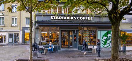 Starbucks coffee in the city center of Bern - COUNTY OF BERN. SWITZERLAND - OCTOBER 9, 2020