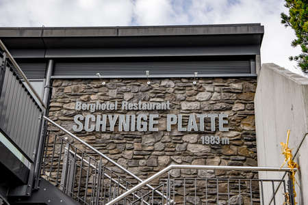 Famous restaurant and hotel on the top of a mountain - Schynige Platte - COUNTY OF BERN. SWITZERLAND - OCTOBER 9, 2020