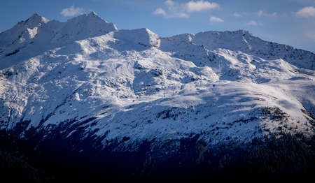 The glaciers in the Swiss Alps - snow covered mountains in Switzerland