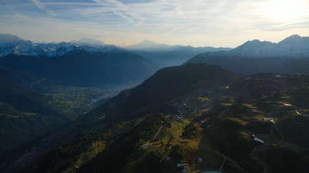 Flight over the wonderful mountains in Switzerland