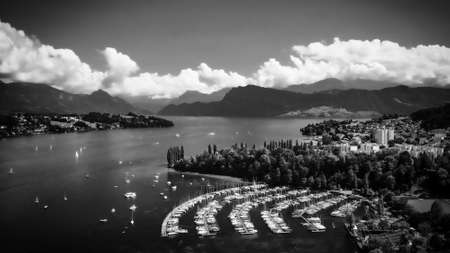 City of Lucerne Switzerland and Lake Lucerne - aerial view in black and white